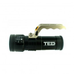 TEDLanterna metalica 1 LED 10W zoom 3 acumulatori